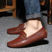2015 Venta mocasines de cuero genuino negro para hombre zapatos de barco de moda marrón plataforma masculina oxford casual mocasín sólido para hombres   – mocasines!!!