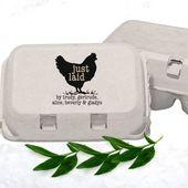 Just Laid Eierkarton Stempel personalisiert, Homestead Geschenke, lustige Hühnerstempel, Farmer Geschenk, benutzerdefinierte Farm Briefmarken, Hühner Lady Hen Haustiernamen – Chickens