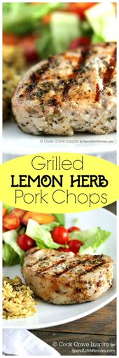 These are my favorite pork chops!  A simple marinade makes these Lemon Herb Gril…