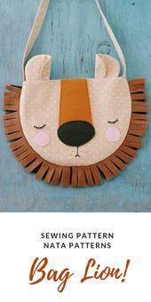 Sewing pattern for girls PDF children's bag gift children's animal bag lion sewing cute bag Easi Tutorial – Huge