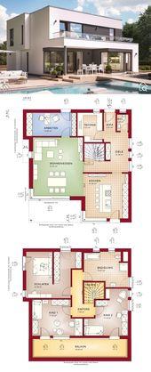 Stadtvilla modern mit Flachdach Architektur im Bauhausstil & 5 Zimmer Grundriss …