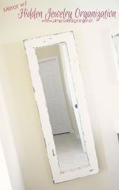 DIY Mirror + Hidden Jewelry Organizer, #diy #Hidden #Jewelry #jewelryorganizerdiymirror #mir …