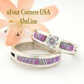 Tamaño 9 1/2 Anillo de bodas nupcial de compromiso de ópalo de fuego rosa Conjunto nativo americano Wilbert Muskett Jr WS-1541 Final de compra especial   – Bridal wedding jewelry