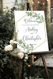 Welcome Wedding Sign Template, Printable Greenery Wedding Sign Editable, Geometric Gold Modern Welcome Sign, Foliage Wedding Sign