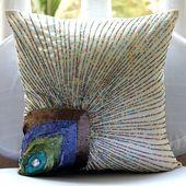 Ivoire Coussins Accent, 40x40 cm Soie Coussins Housses Pour Couch, Plume De Paon Paillettes Et Perles Coussins Couverture - Peacock Beauty