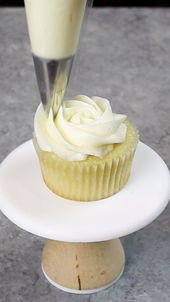 Rose Water Cupcakes #cupcakefrostingtips Image of piping a buttercream rosette o…
