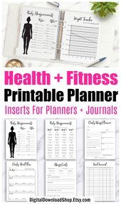 Bullet Journal Health and Fitness Planner Printable Bundle, Weight Loss Tracker, Workout Planner, Exercise Planner, Bujo Fitness Tracker