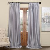 Exclusive Fabrics & Furnishings Silver Blackout Vintage Textured Faux Dupioni Pleated Curtain – 25 in. W x 96 in. L-PDCH-KBS9BO96-F