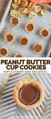 Peanut Butter Cup Cookies are sweet and chewy, mad…