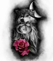 wolf lady with moon and rose tattoo sketch   – Tattoos