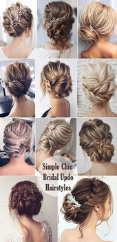 Simple and Chic Bridal Updo Hairstyle Ideas #promhairstyles #EasyBeautifulHairstyles