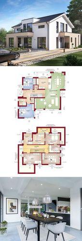Modernes Design-Haus mit Satteldach – Fertighaus C…