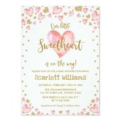 Pink Gold Sweetheart Baby Shower Invitation Hearts – Girl Baby Shower