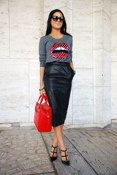 15 jolies façons de porter une jupe midi en cuir   – Damen Style