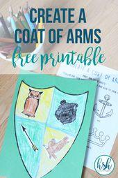 Erstellen Sie ein Wappen Aktivität – Free Printable   – Happy Strong * DIY and Crafts