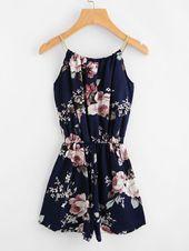 Cami Jumpsuit mit Blumen Muster und Selbstbindung