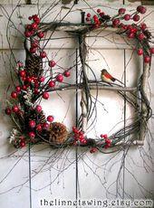 Crimson Berry Window – Winter Wreath – Birch Window
