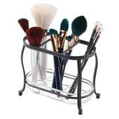 "Makeup brush holder 3 sections mDesign, organizer for false ceiling, bronze, 7 ""x …"
