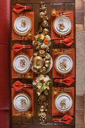 Gilded and Traditional Theme Thanksgiving Tablescape: Orange placemats and napki…