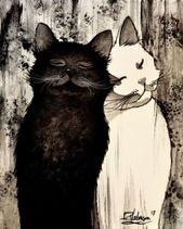 ZWEI SEELEN  Raphaël VAVASSEUR  Originalgemälde Originalgemälde   #Katzen