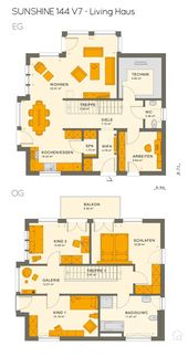 Stadtvilla SUNSHINE 144 V7 im Bauhausstil – Living Haus | HausbauDirekt – Grundriss Stadtvilla