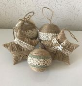 Set of 5 twine ornaments for rustic christmas decor country country christmas decoration housewarming gift star ornament farmhouse xmas decor