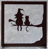 Die Hexe und ihre Katze – Holzschnitt-Silhouette – # Möbel #Holz #Chat #Schneiden #en   – Keramik & Kunst