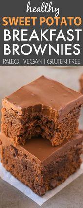 Healthy 5 Ingredient Sweet Potato BREAKFAST Brownies (V, GF, P)- SUPER fudgy, he…