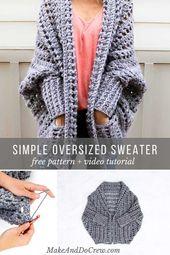 Video-Tutorial: Wie man einen Pullover häkelt (das kostenlose Dwell Sweater-Muster), #crochet…