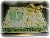 Babyparty-Blechkuchen-Design in Buttercreme mit Fondant-Akzenten von Tracin …   – Cakes