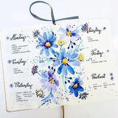 25 Beautiful Watercolor Bullet Journal Layout Idea…