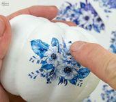 DIY Dollar Store Blue & White Porcelain Pumpkins   – Dollar store diy
