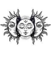 Eclipse Solaire Vintage Sol y Luna • Acheter cette oeuvre à …   – Tattoo Idees