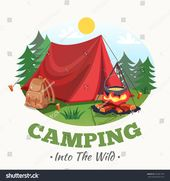 Camping Illustration Summer Forest Cartoon Style Stock Vector (Royalty Free) 553681759