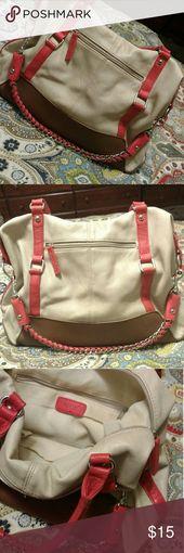 tan cream and coral handbag guc apt 9 brand tan cream
