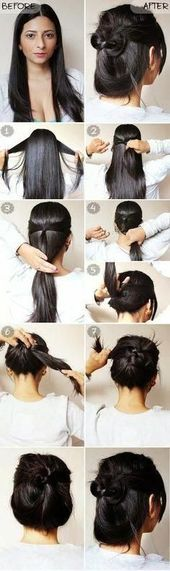Quick and easy hairstyles for short hair #dutt #festlichefrisuren #shorth … #frisurenpferdeschwanz