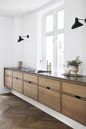 Herringbone floors and flat front cabinets #FluidR…