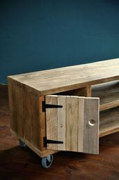 Multimedia furniture in reclaimed wood for industrial industrial TV stand …