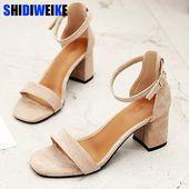 Sandalias romanas negras beige Zapatos de tacón alto de oficina de verano   – Sandals