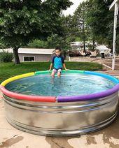 Large galvanized round storage tank – kids blog