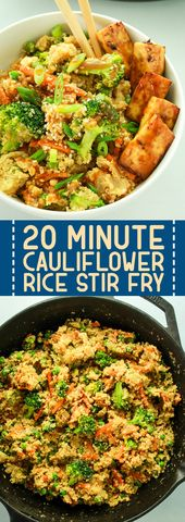20 Minute Cauliflower Rice Stir Fry | This cauliflower rice stir fry recipe tast…