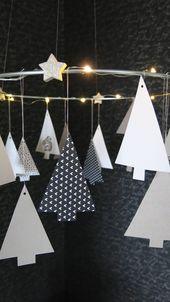 Tannenkranz mit Beleuchtung – schwarz auf weiß-107qm  – DIY Papier