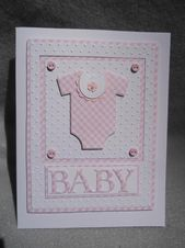 Baby Cards Baby girl card onesie baby girl card w baby onesie w bib | Etsy