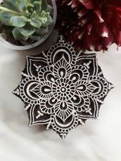 Snowflake stamp; Flower stamp; Mandala postage stamp; Ceramic stamp; Clay stamp; Floral hand carved wooden block; Indian stamp   – Textile Printing Blocks
