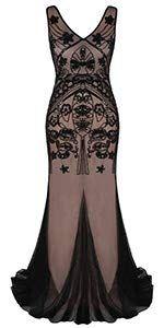 580e22c5fc1c47 Amazon.com: PrettyGuide Women 's 1920s Black Sequin Gatsby Maxi Long  Evening Prom