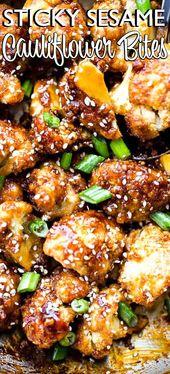 Sticky Sesam Blumenkohl Bites! Süß und würzig gebackener Blumenkohl beißt gekocht …   – side dishes