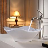KRAUS Tulip Ceramic Vessel Bathroom Sink in White with Pop Up Drain in Satin Nickel-KCV-135-SN