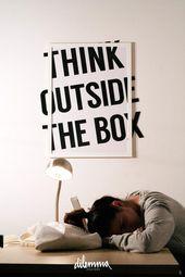 Print, motivierende minimalistische Denken außerhalb der Box, inspirierendes Zitat, Klassenzimmer Kunst Wanddekoration, Typografie, print, schwarz und weiß