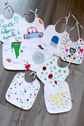 Baby Cards Unsere entspannte Babyparty - ein paar Tipps und Spiel-Ideen: Lätzchen bemalen