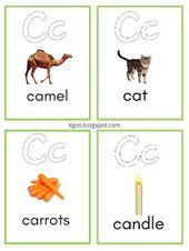 بطاقات تعليمية للأطفال على حرف Letter C مع الكلمات Alphabet Flashcards Flashcards Lettering